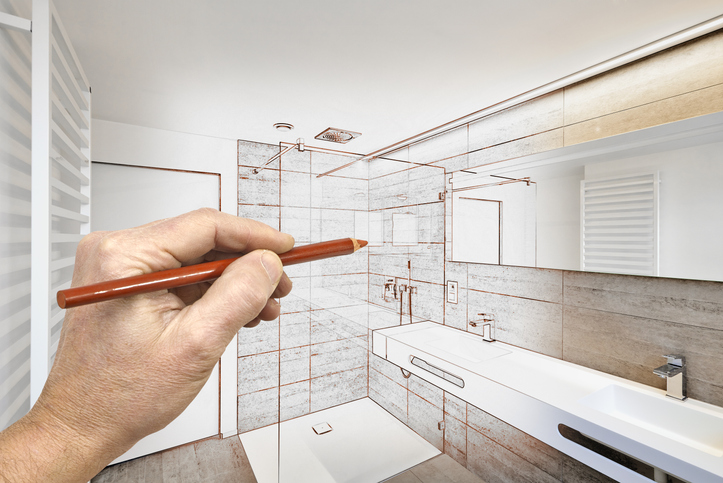 Drawing renovation of a luxury bathroom